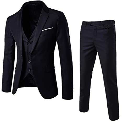 Wulful Men's Suit Slim Fit One Button 3 Piece Suit Blazer Dress Business Wedding Party Jacket Vest & Pants by Wulful