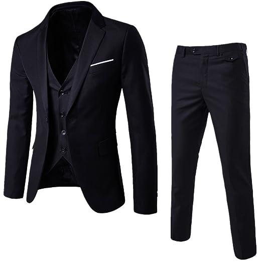 9fd7870b0179a WULFUL Men's Suit Slim Fit One Button 3-Piece Suit Blazer Dress Business  Wedding Party Jacket Vest & Pants
