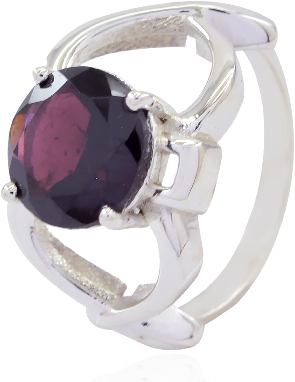 Home d/écor Nice Selling Items Gift for Handmade Custom Hand Stamped Good Gemstones Round Faceted Garnet Ring Sterling Silver Red Garnet Good Gemstones Ring