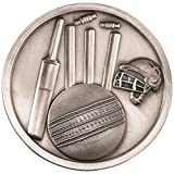 Lapal Dimension CRICKET MEDALLION - ANTIQUE SILVER 2.75in