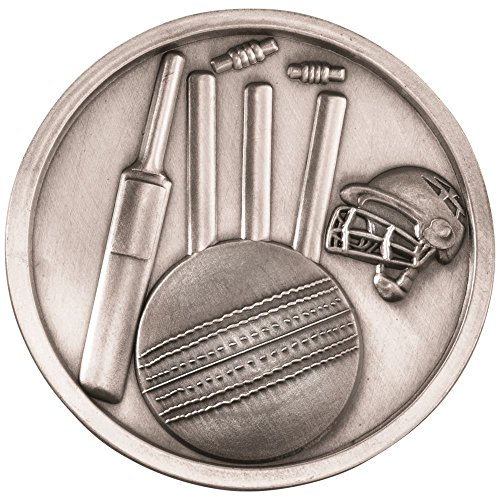 Lapal Dimension CRICKET MEDALLION - ANTIQUE SILVER 2.75in by Lapal Dimension