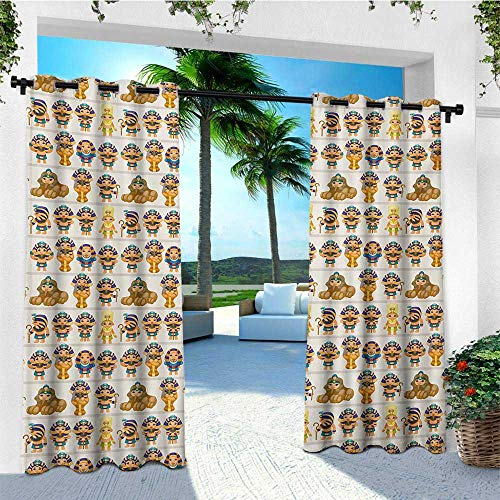 leinuoyi Egyptian, Outdoor Curtain Panels Set of 2, Cute Kids Design with Egyptian Cartoon Ancient Figures King Queen Myth Pattern, Fashions Drape W96 x L96 Inch Multicolor