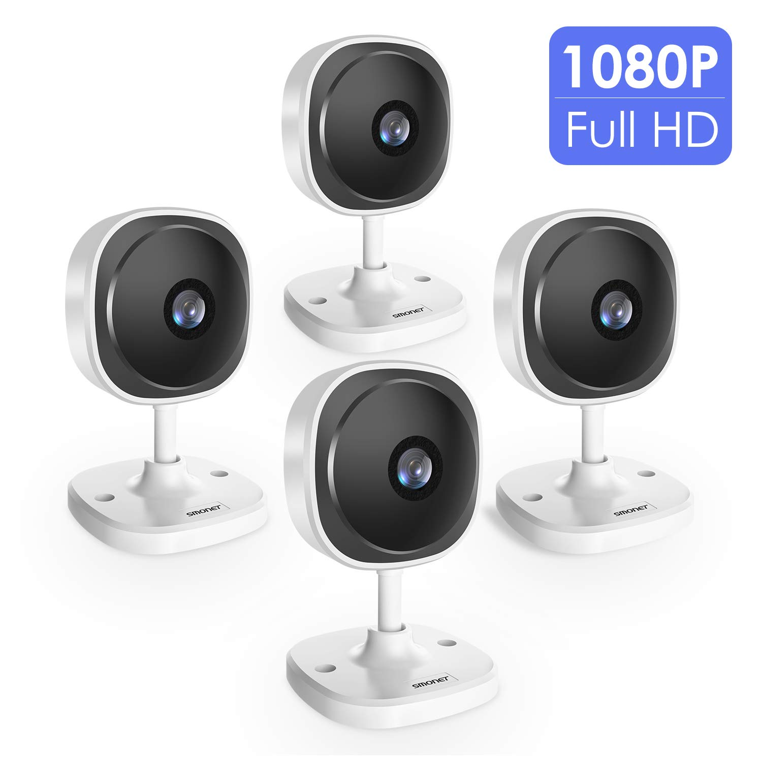 1080P Wireless Security Camera, SMONET 180 Degree Panoramic IP Camera, Home Surveillance Camera with Two-Way Audio, Motion Detection, Night Vision for Dog Cat Baby White-4 Packs