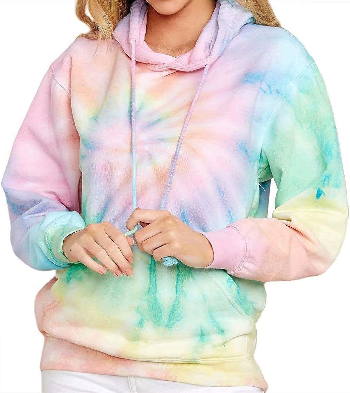 Yanekop Womens Tie Dye Printed Hoodie Casual Loose Pullover Color Block Sweatshirt