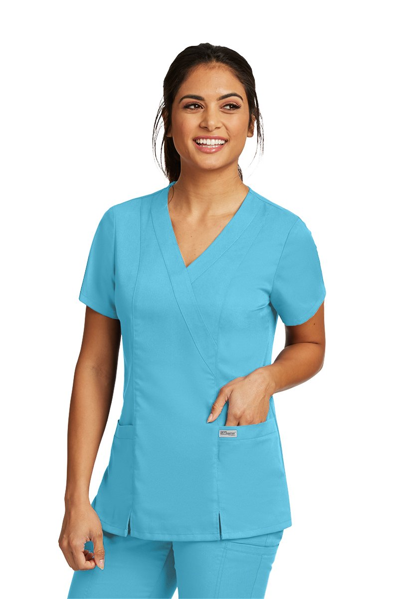 Grey's Anatomy 41101 Mock Wrap Top Coolwater 2XL
