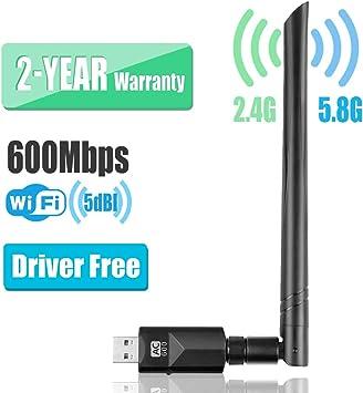YIYOU WiFi Antena USB Adaptador 600Mbps Dual Band (2.4GHZ/150Mbps+ 5.8GHZ/433Mbps) Driver Free Auto WiFi Dongle 5dBi para PC/Desktop/Laptop/Mac ...