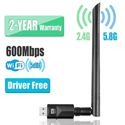 YIYOU WiFi Antena USB Adaptador 600Mbps Dual Band (2.4GHZ/150Mbps+ 5.8GHZ/433Mbps) Driver Free Auto WiFi Dongle 5dBi para PC/Desktop/Laptop/Mac Soporte Windows XP/Vista/7/8/10 Mac OSX 10.6-10.14