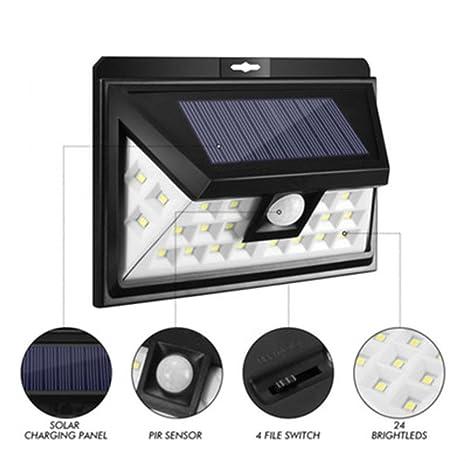 STRIR Lampara Solar Exterior Luz Solar, 24 LED Solar Jardin para Exteriores con Sensor de