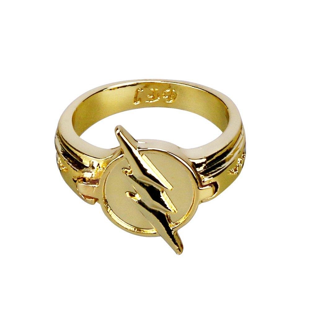 BFJ Reverse Flash Ring Golden Size 10 Zinc Alloy Cosplay Ring Costume