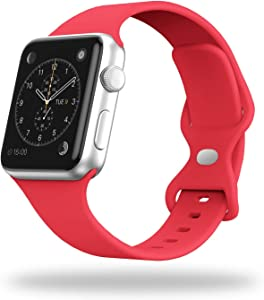 STG Smart Watch Band Compatible with Apple Watch Band 38mm 40mm 42mm 44mm, Soft Silicone Replacement Sport Strap Compatible for iWatch SE Series 6/5/4/3/2/1 (38/40mm, Red)