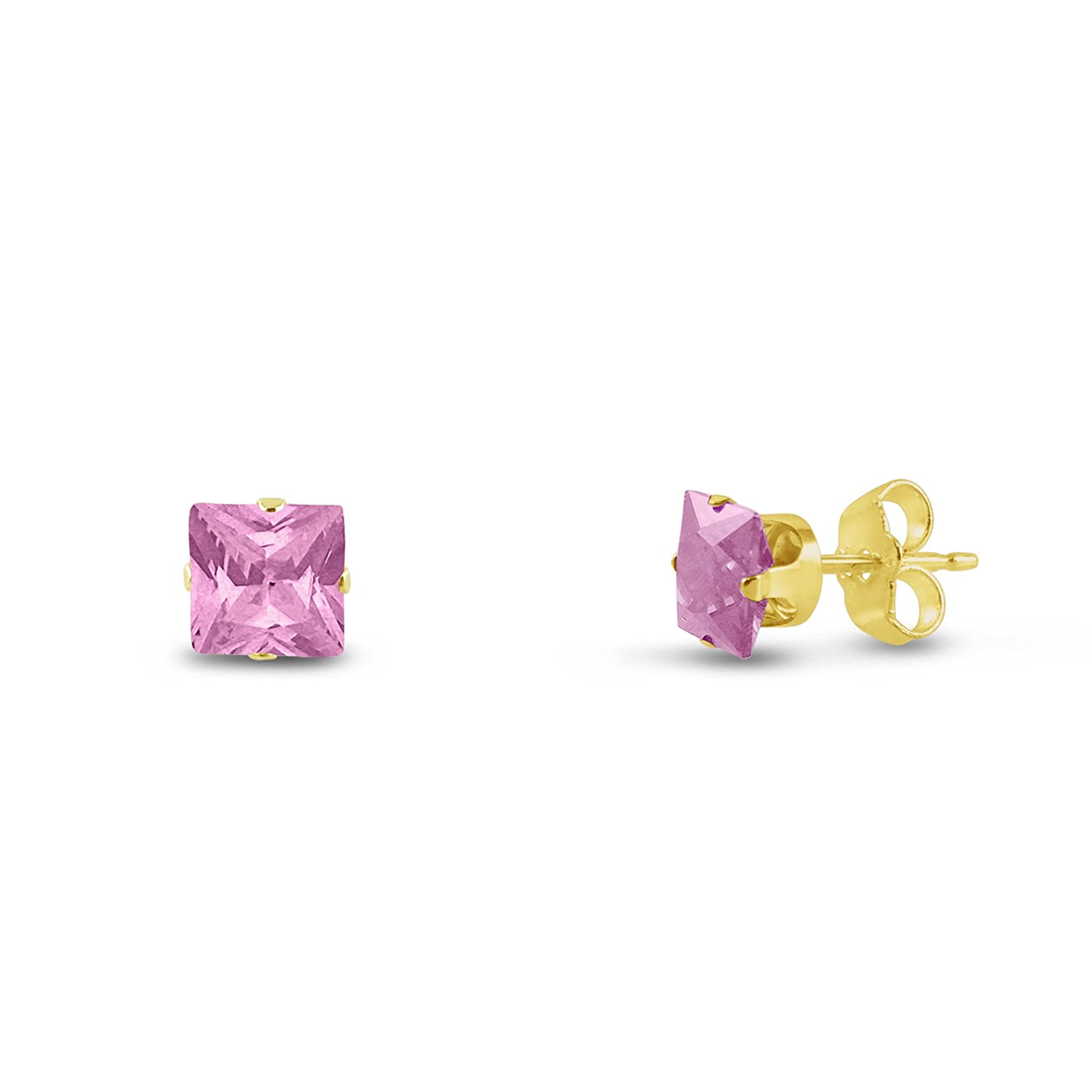 Square 3x3mm Pink CZ Gold Plated Sterling Silver Stud Earrings