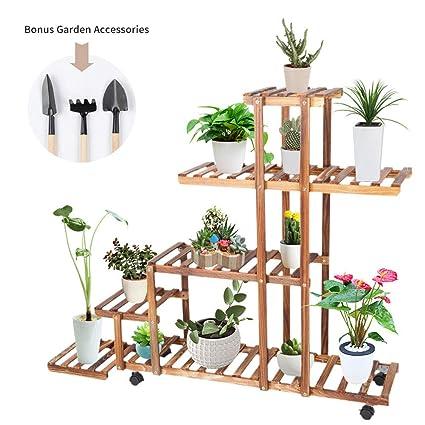 Amazon.com: Cocoarm - Soporte para macetas de madera de pino ...