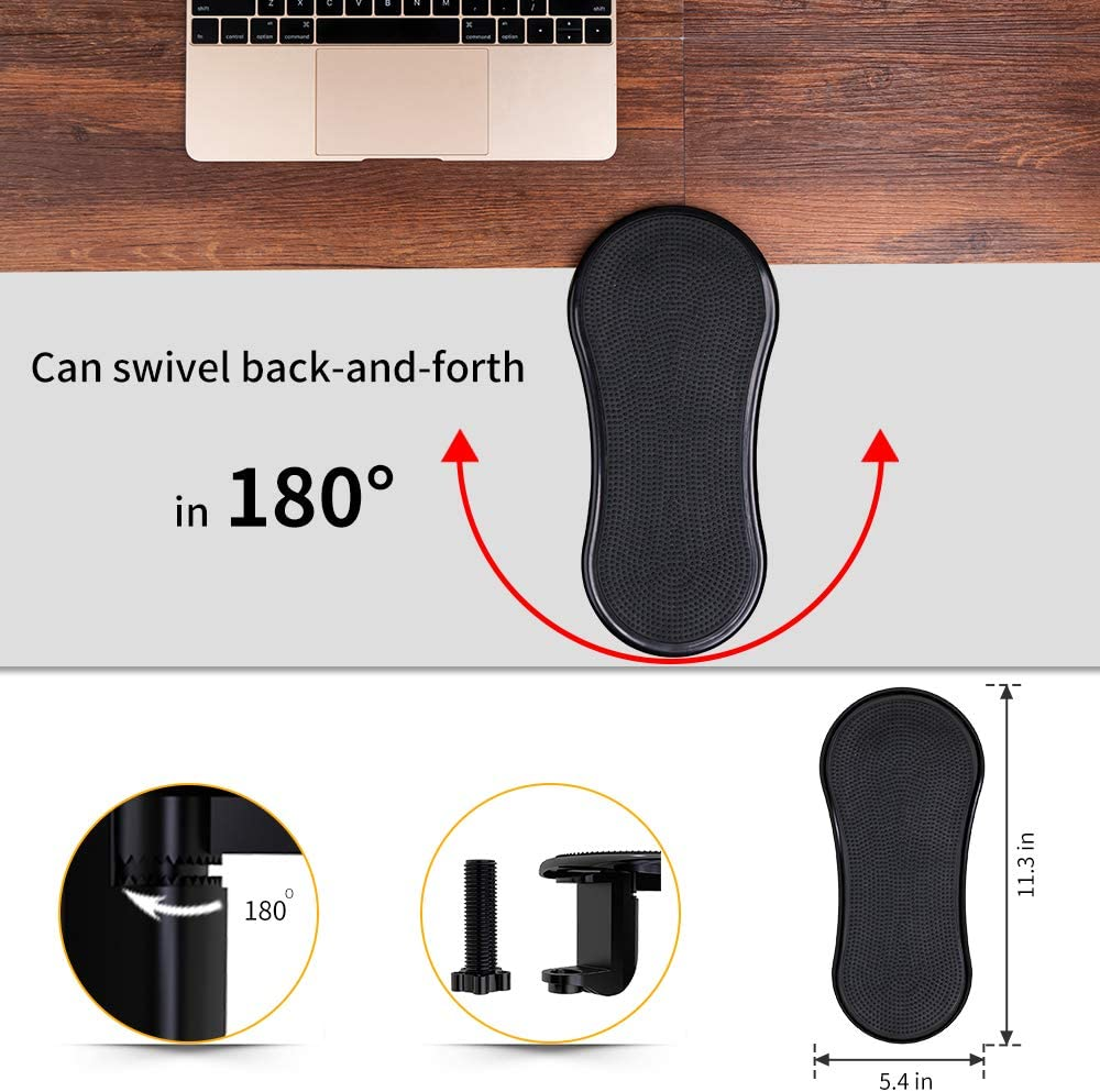 Release Stress /& Eliminate Pain LuckIn 2 Pieces Adjustable Wrist Rest Extender Ergonomic Design Arm Rest Pad for Elbow No Assemble Required Rotation Armrest Support