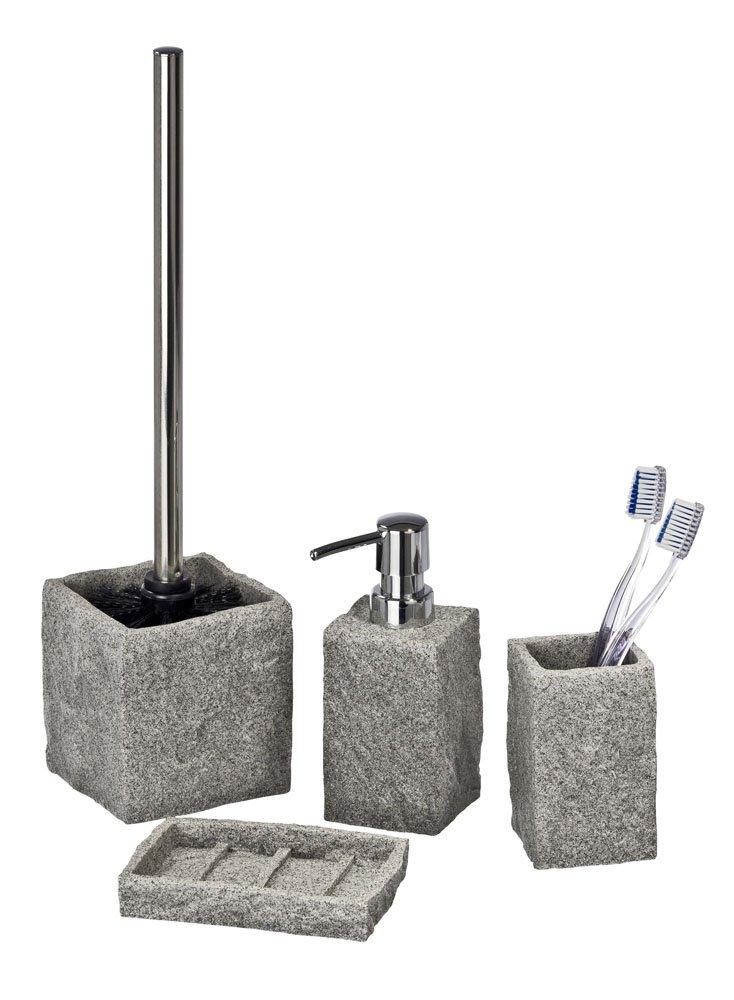 Wenko 20439100 Porte-Savon Poly R/ésine Gris Granite 13,5 x 9,5 x 11,5 cm