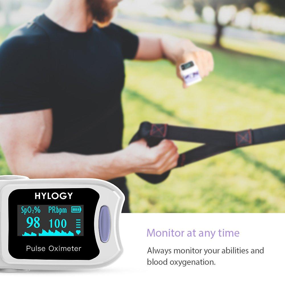 hylogy oxímetro Digital de Pantalla OLED Medir Oxígeno en Sangre SPO2 y frecuencia de pulso, funciona con un botón, fácil de casa usar: Amazon.es: Salud y ...
