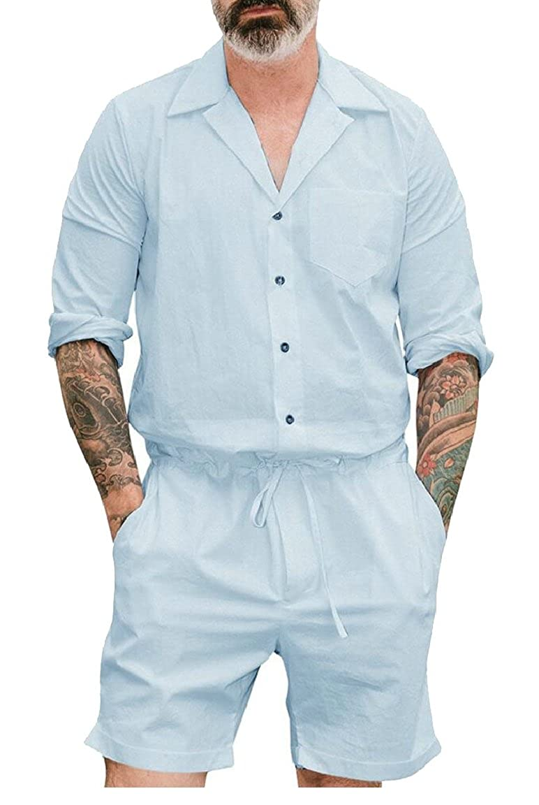 pujingge-CA Mens Long Sleeve Button Down Shorts Drawstring Rompers