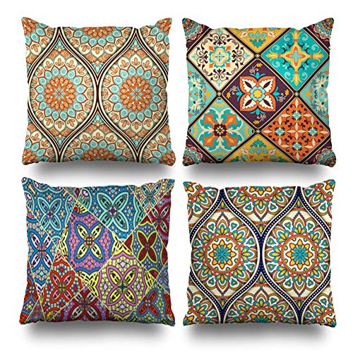 Suesoso Decorative Pillows Case 16 x 16 Inch Set of 4,Ethnic Mandala Ornament Throw Pillowcover Cushion Decorative Home Decor Nice Gift Garden Sofa Bed Car (Pillows Outdoor Batik)