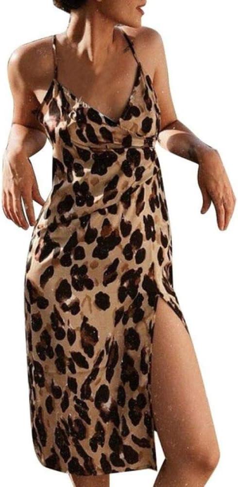 Handaxian Vestido Vestido de Leopardo para Mujer Vestido Informal ...
