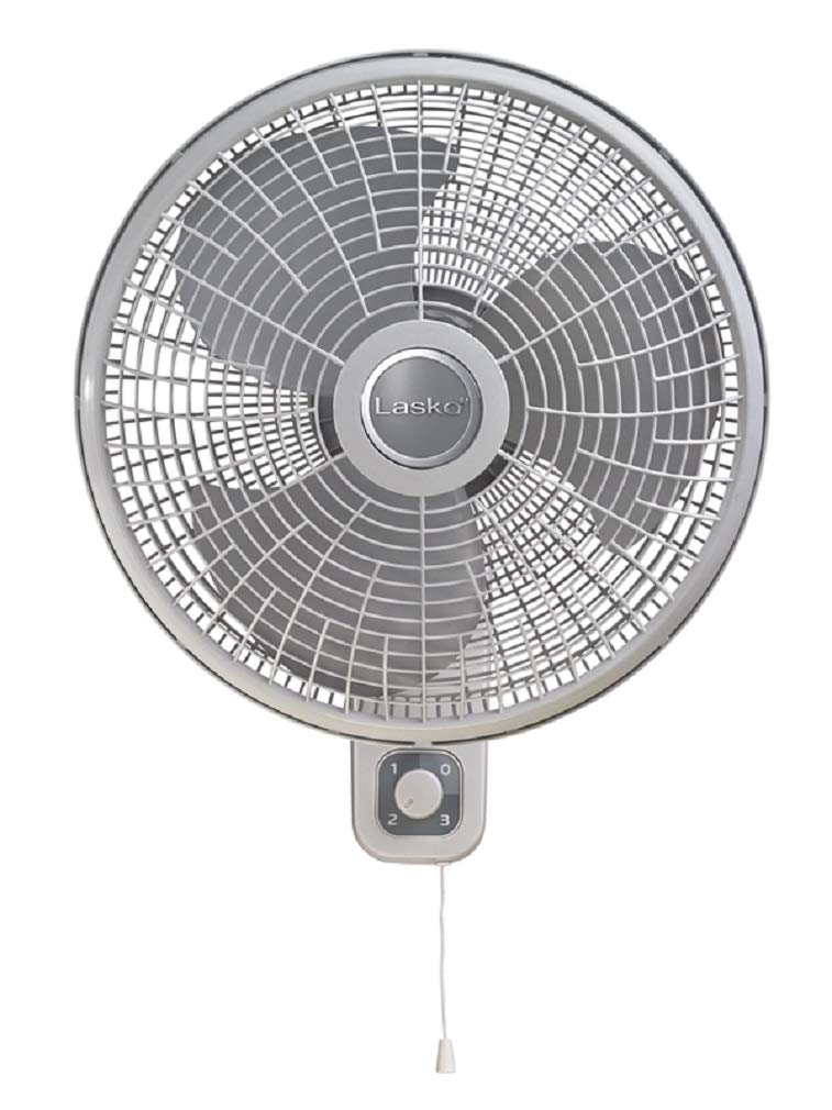 "Lasko 16"" Oscillating Wall Mount Fan with Anti-Rust Grills M16900"