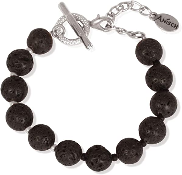 Anisch de la Cara Damen Armband Shiny Silver Black Lava