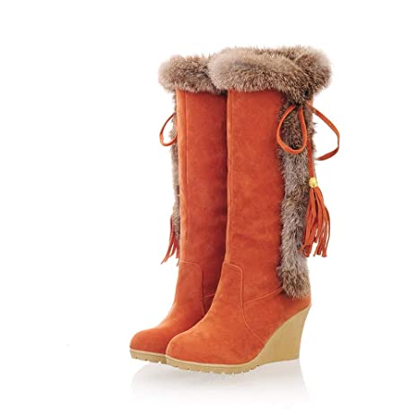 SamMoSon Botas Mujer Altas De Mujer Tacon Marrones,Zapatos De Aumento De Borla De Ocio para Mujer Punta Redonda Mantenga Cálidas Botas De Nieve con Tubo ...