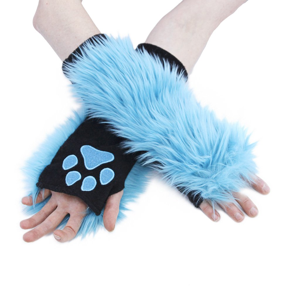 Pawstar Furry Paw Warmers Arm Hand Cover Fingerless Gloves 3101TU