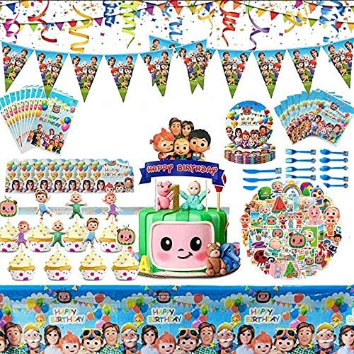 Banner Paper cups cocomelon Flatware Spoons Balloon cocomelons Birthday Par Napkins Fork Tablecloth Party Decoration Kids Boys and Baby Shower Birthday Party Favors knives cocomelon Party Supplies gift bags Mini fruit fork Cake Toppers Plates