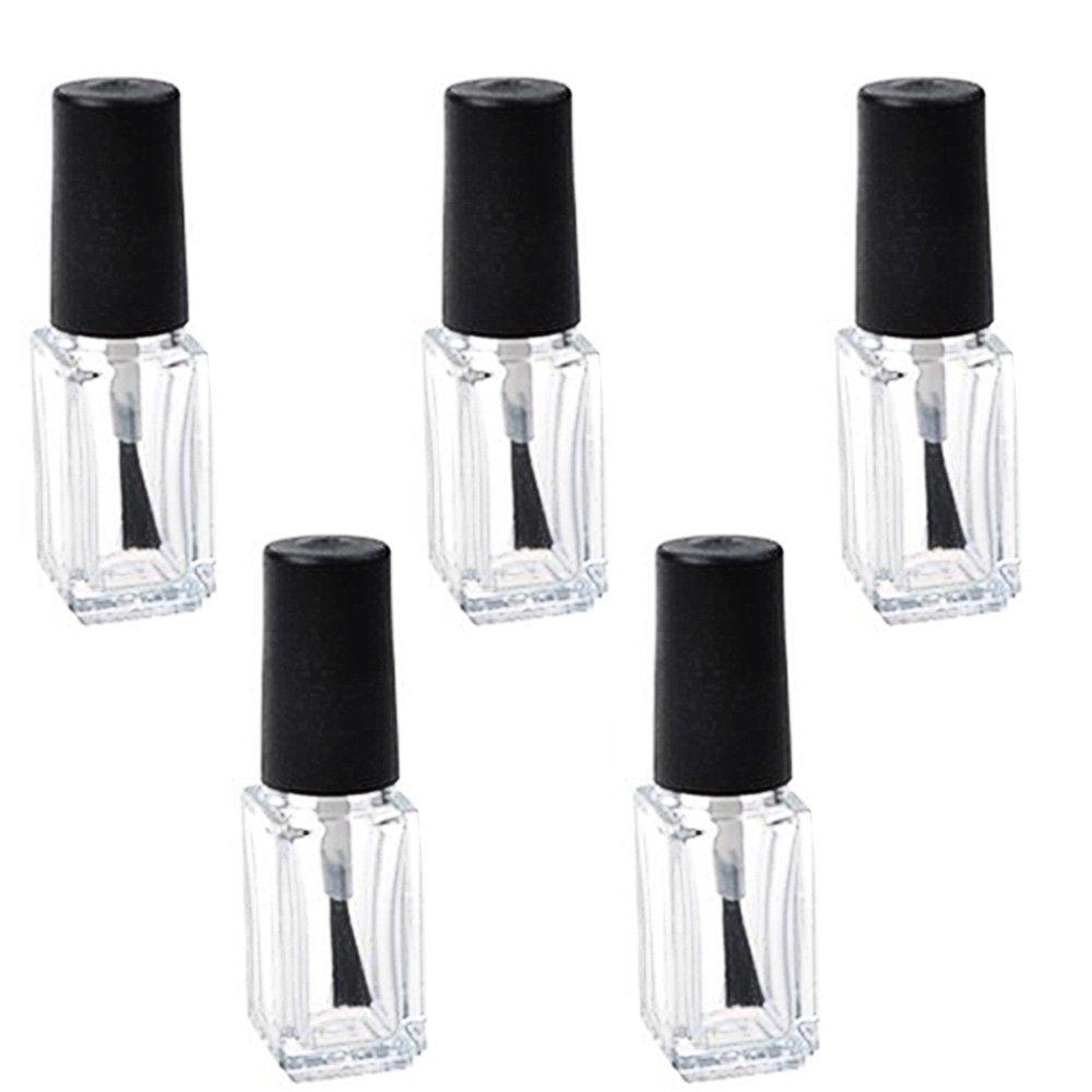 5 Pcs 5ml DIY Square Refillable Empty Nail Polish Glass Bottle Tube ...