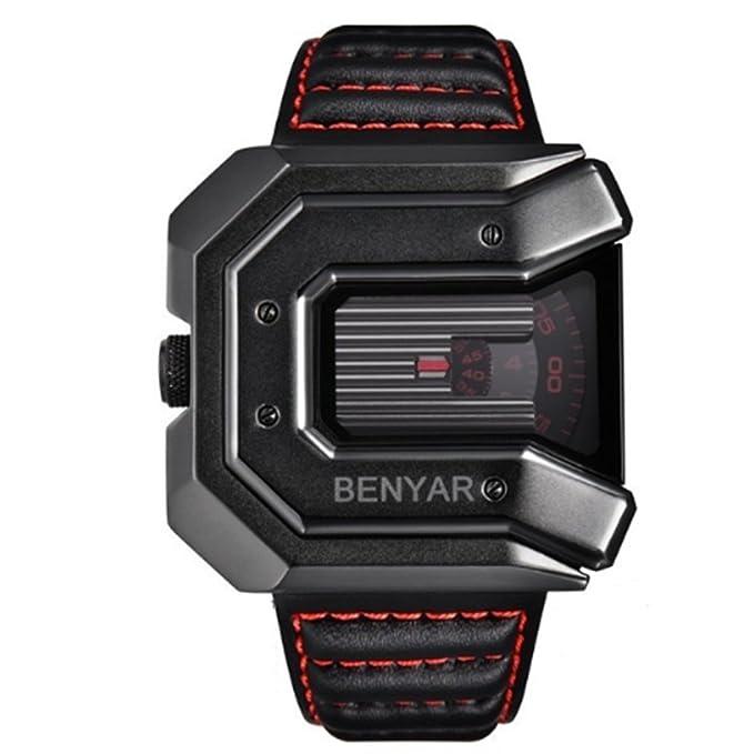 2018 new design BENYAR luxury brand men's leather waterproof quartz sports watch (Red)