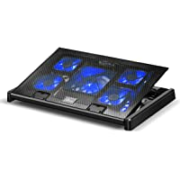 Olliwon Base de Refrigeración para Ordenador Portátil,5 Ventiladores Ultrasilenciosos con LED, Velocidad Ajustable…