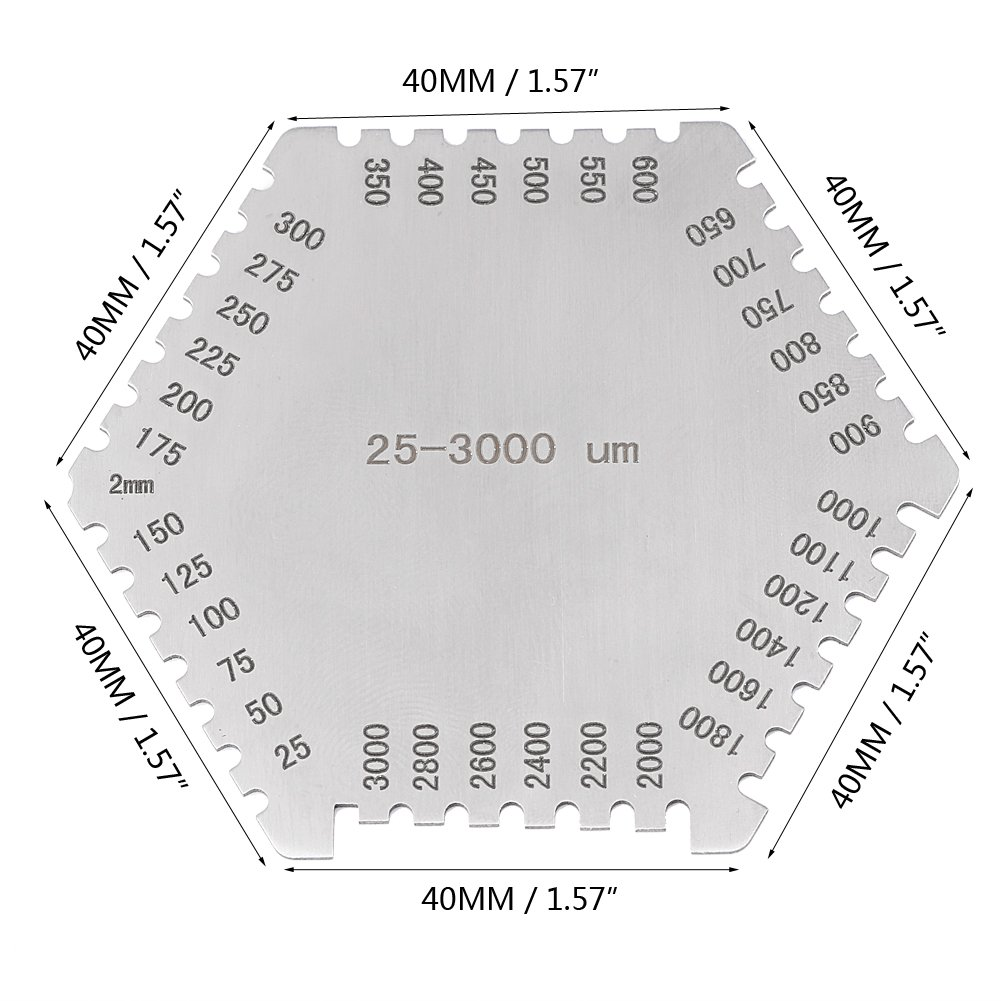 Wet Film Peigne hexagonale jauge de 25-3000um en acier inoxydable poche Guage étui Noir