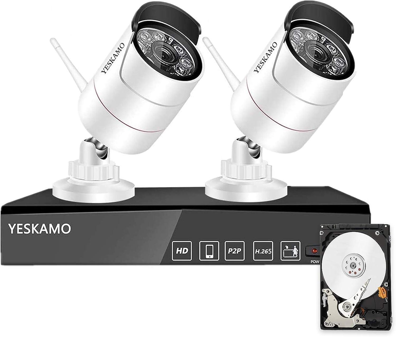Yeskmao - Juego de cámaras vigilancia inalámbricas para exteriores con 4 canales H.265 NVR grabadora y 2 WiFi 1080P, inalámbrica disco duro 1 TB, visión nocturna 30 m detección movimiento
