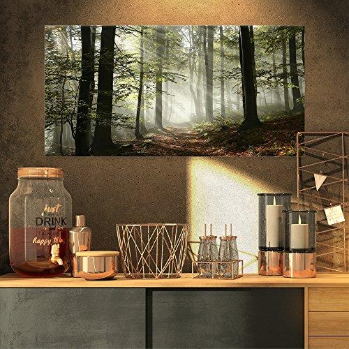 Design Art PT9835-32-16 Light in Dense Fall Forest with Fog Landscape Canvas Art Print, 32x16, Green from Design Art