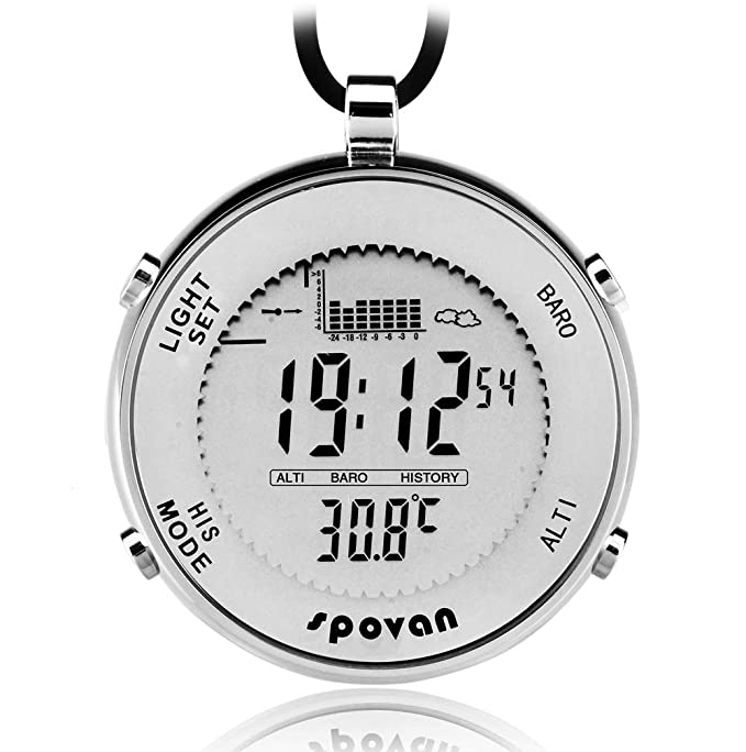 SPOVAN Men's Sports Reloj de Bolsillo Fishing Remind EL Backlight Altimeter Barometer Relojes de Exterior