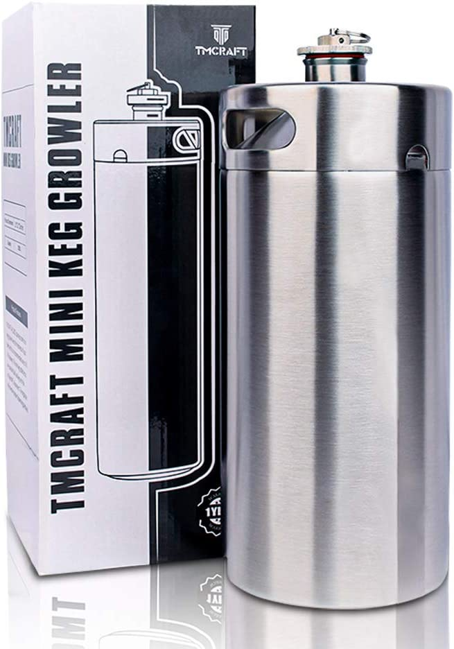 TMCRAFT 128OZ Stainless Steel Mini Keg, Portable beer growler with Exhaust Valve Designed Cap to Keep Beverage Fresh