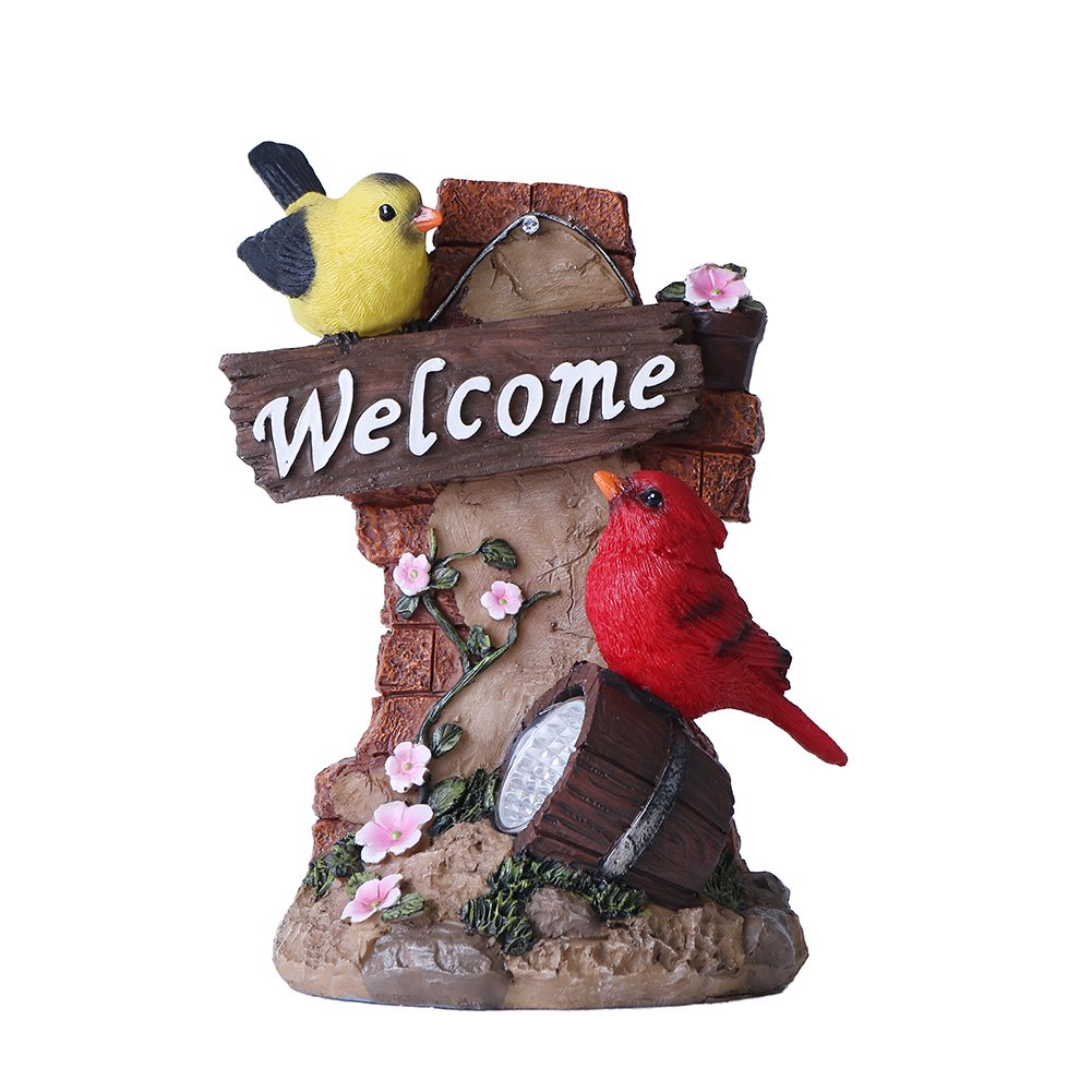 Valery Madelyn Bird Welcome Sign Garden Statue with Solar Light Resin Garden Sculptures for Spring Easter Outdoor Decoration(Outdoor Paradise)