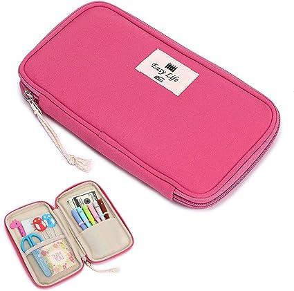 BTSKY Estuche Lápices Material Escolar de Pasaporte de Nailon Bolsa de Organizador Escritorio para Almacenamiento de Lápices Bolígrafos Tarjetas Pasaportes Color Rosa: Amazon.es: Oficina y papelería