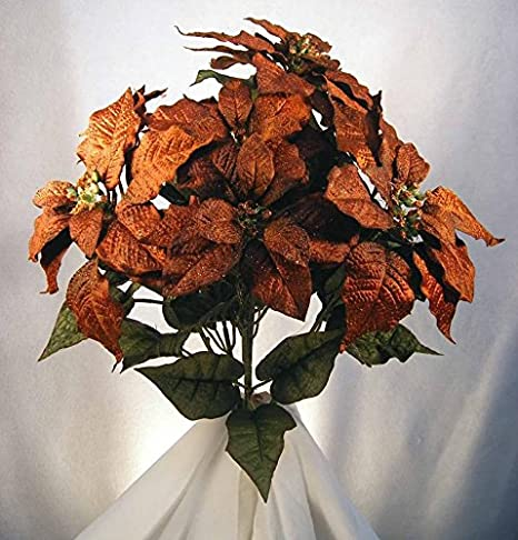 Factory Direct Craft Rust Orange Poly Silk Poinsettia Bush for Indoor Decor