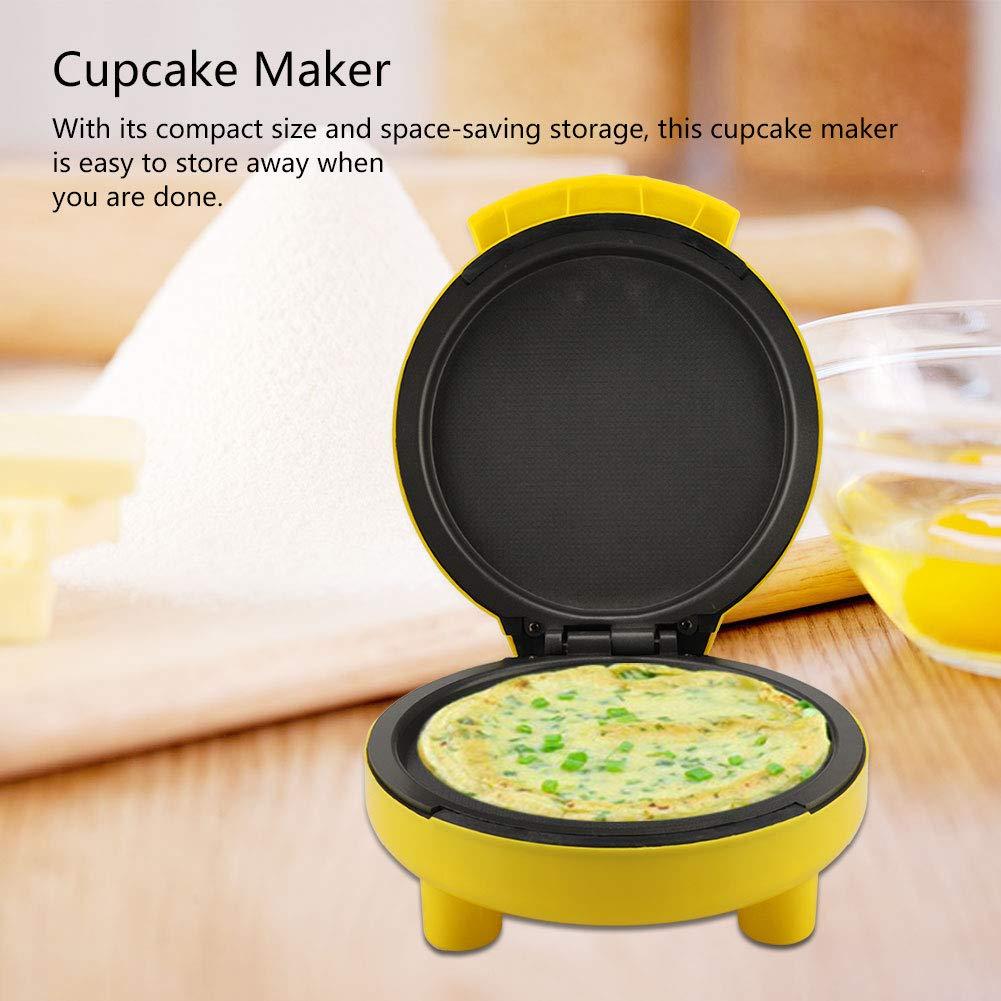 Macchina Muffin Macchina per Cupcake con Piastre Antiaderenti PP Giallo 24 * 21 * 12.5cm Mini Macchina per Cake Pop in lega di titanio