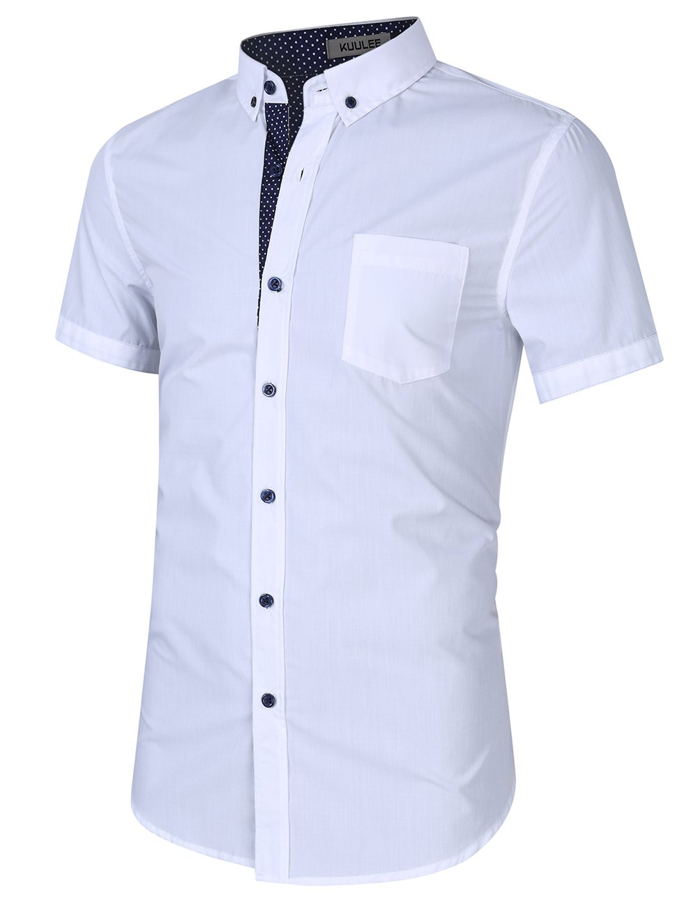 Kuulee Men's Casual Slim Fit Short Sleeve Button Down Business Shirt Cotton Dress Shirts White XXL by Kuulee (Image #2)