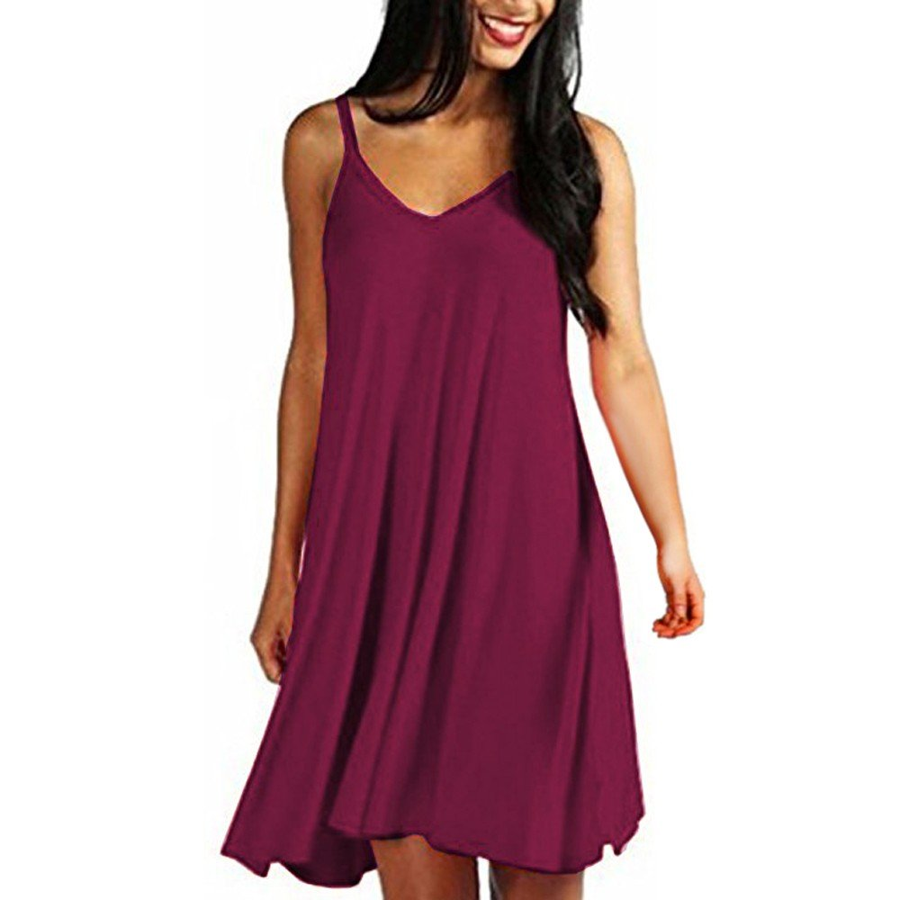 Hotkey Women's Dresses Women's Solid Casual Plain Simple Loose Summer Sling Dresses Sundress Wine Red