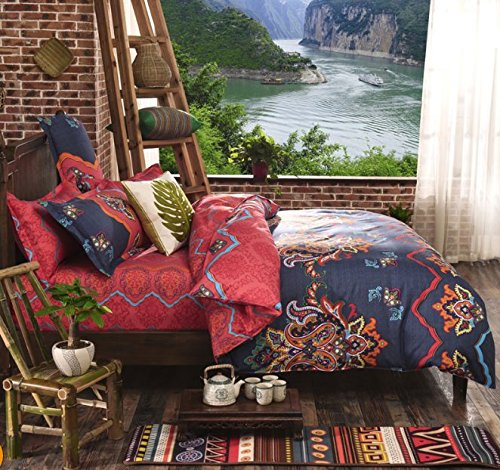 Classic 4 Pieces Bohemian Exotic Style Floral Bedding Duvet Cover Sets Full Size Pattern5