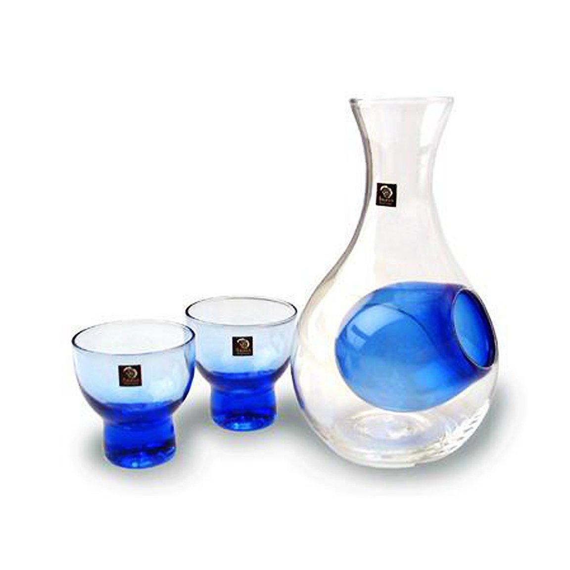 Happy Sales HSSS-GLB12, Blue Glass Sake Set for Cold Sake by Happy Sales