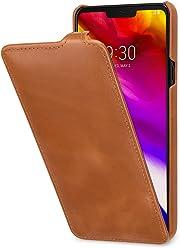 StilGut UltraSlim, Housse en Cuir pour LG G7 ThinQ. Étui de Protection à Ouverture Verticale en Cuir Fin et léger pour LG G7 ThinQ, Cognac