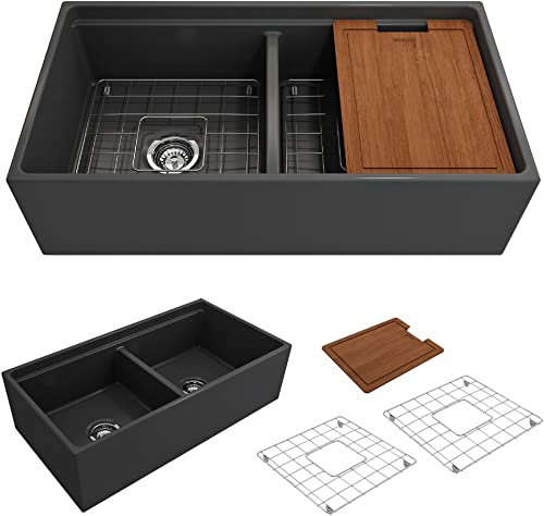 BOCCHI 1348-020-0120 Contempo Apron Front Step Rim Fireclay 36 in. Double Bowl Kitchen Sink with Protective Bottom Grid and Strainer in Anthracite, Dark Gray