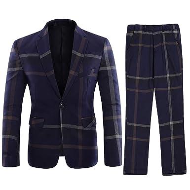 premium selection 0551e d1a01 YOUTHUP Costume Homme Un Bouton Mariage Mode Slim fit Deux-Pièces Elégant  Blazer+Pantalon