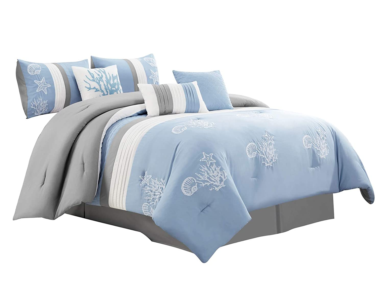 Amazon.com: HGS 11-Piece Aquata Comforter Curtain Set ...