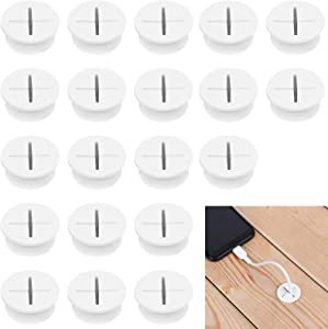 SUSHAFEN 20Pcs Desk Cord Grommets 2.5Cm/1Inch Wire Cable Hole Cover Silicone Cable Pass Through Cord Grommets for Home Office PC TV Desk Cable Cord Cover Wire Organizer Cable Protector