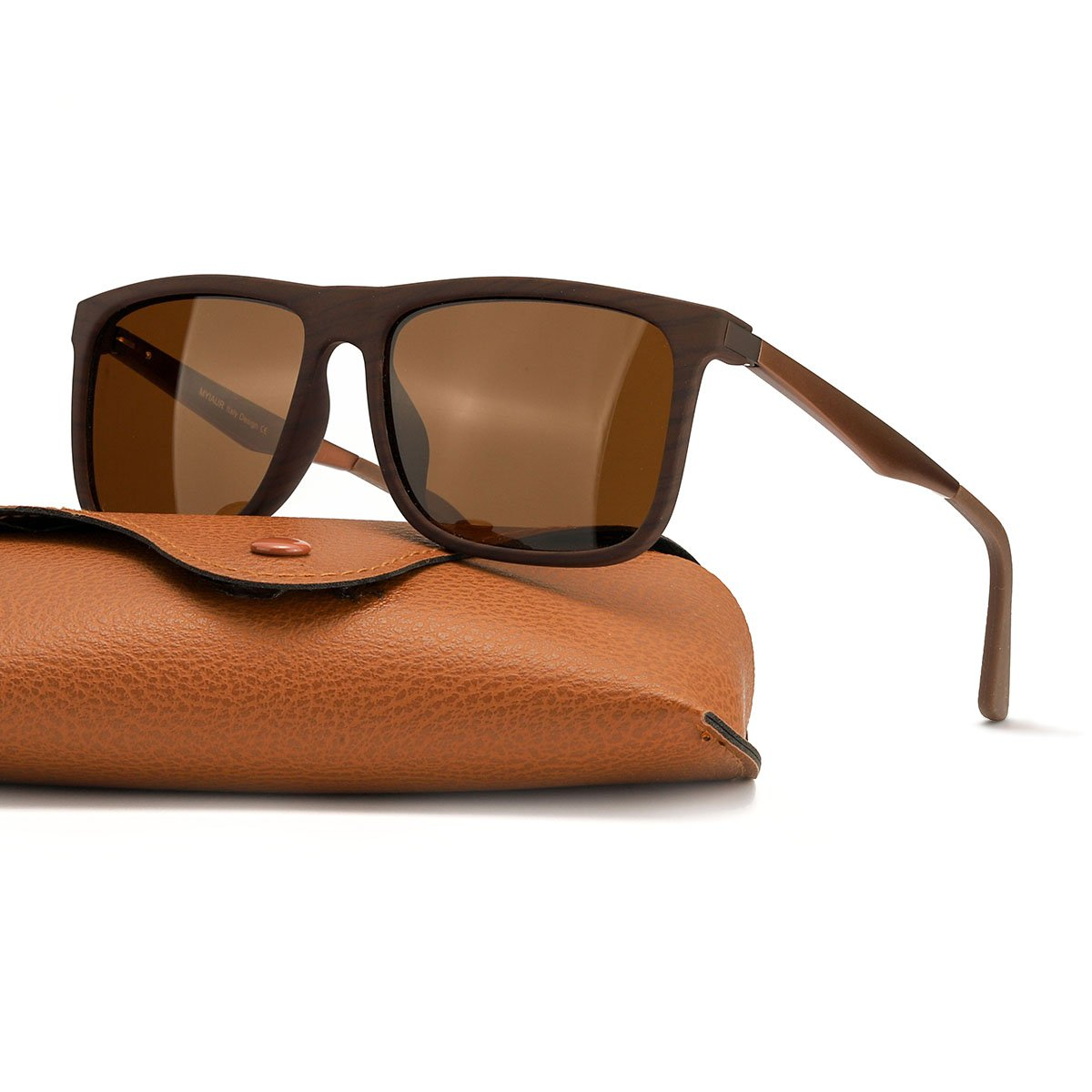 Classic Wayfarer Polarized Sunglasses for Women&Men 100% UV Protection (brown wood/brown)