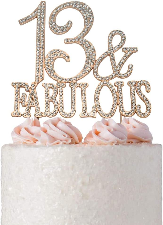 Amazon Com Premium Metal 13 And Fabulous Rose Gold Rhinestone Gem Cake Topper Perfect 13th Birthday Party Keepsake And Decoration Sparkling Crystal And Diamond Style Bling Makes A Great Centerpiece 13 Fab Rg Home